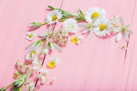 美丽的花朵在粉红色的木制背景