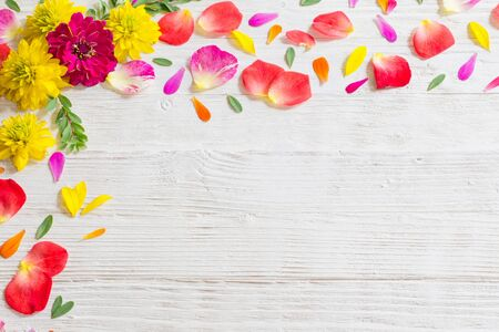 red and yellow summer flowers on white wooden background