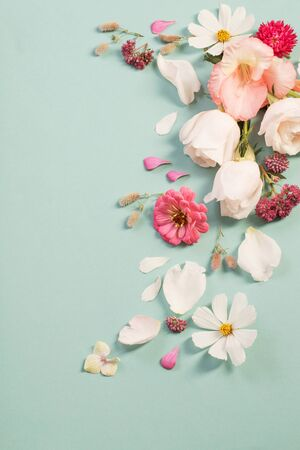 summer flowers on green paper background Stock Photo