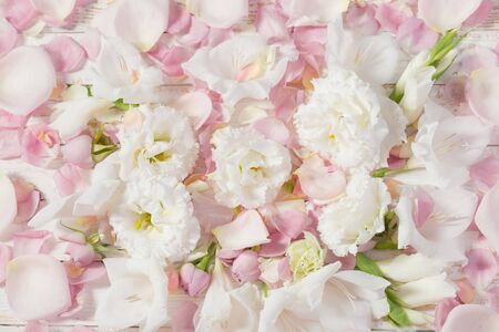 background of pastel roses and eustoma flowers