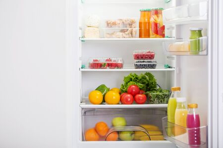 refrigerator with different healthy food Stock fotó