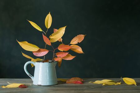 autumn leaves in jug on wooden table on dark background