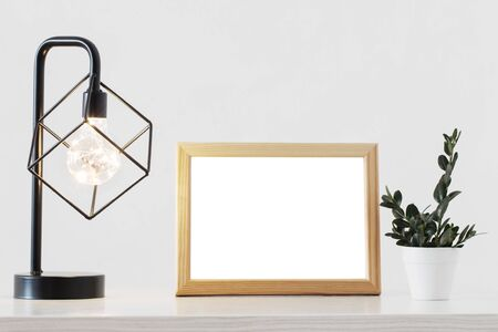 metal black lamp, woodenframe and plant in white interior