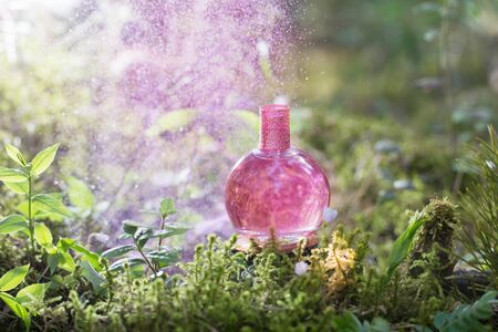 pink magic potion on bottle in forest