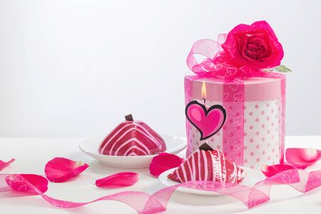 cupcake with burning candle with gift box Stock Photo