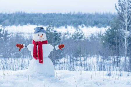 snowman in red scarf in forest Stok Fotoğraf