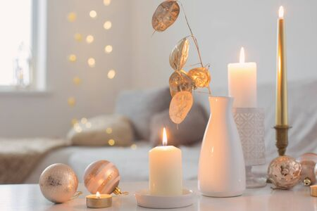 Christmas decorations with candles at home