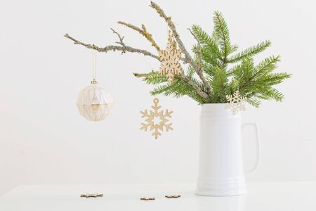 modern Christmas sill life in jug on white background