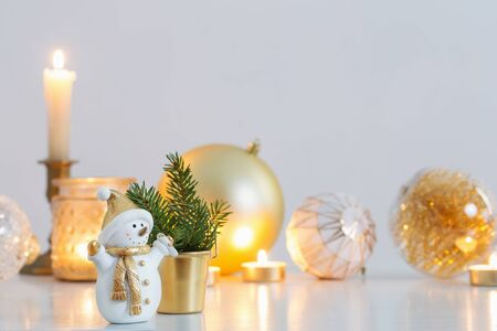 Christmas decorations with little ceramic snowman