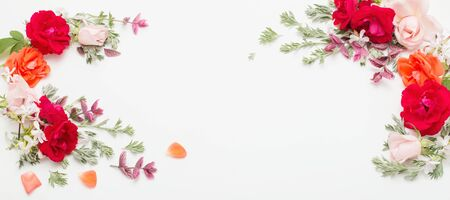 rose flowers and leaves on white background
