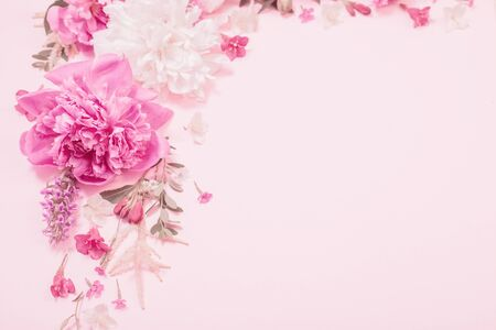 beautiful flowers on pink paper background