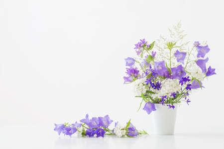 wild flowers in vase on white background