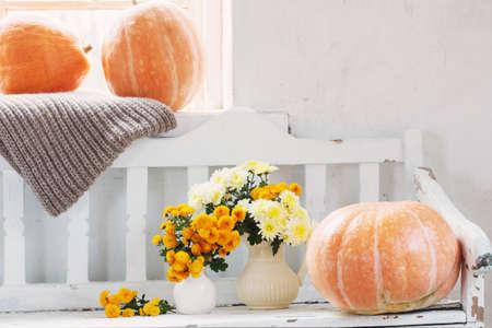 yellow chrysanthemums in jug and orange pumpkins on old white wooden bench Stock fotó
