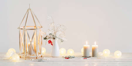 Christmas decorations on background white wall Stock fotó