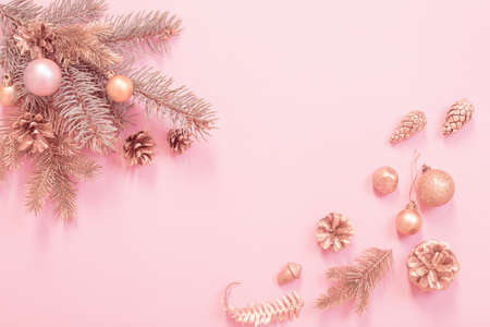 beautiful modern Christmas background in gold and pink colors Stock fotó