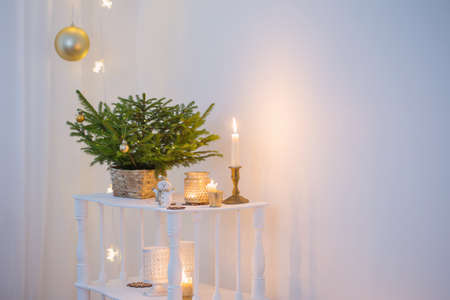 Christmas decorations in white vintage interior