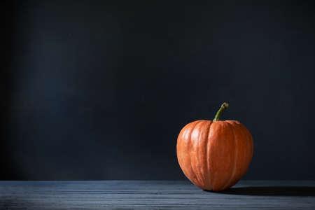 orange pumpkin on dark blue background