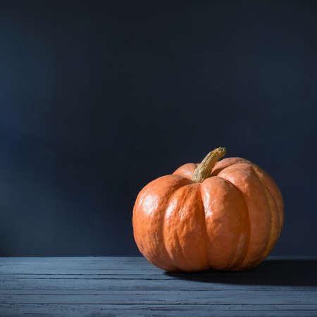 orange pumpkin on dark blue background Foto de archivo - 155425085