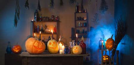 Halloween pumpkins and decoration indoor