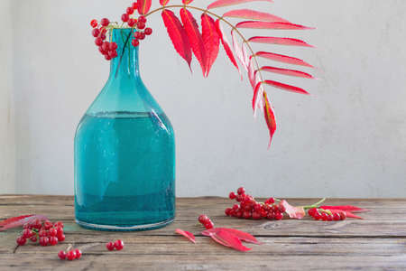 red autumn leaves in glass vase and viburnum berries on wooden table Foto de archivo - 155696113