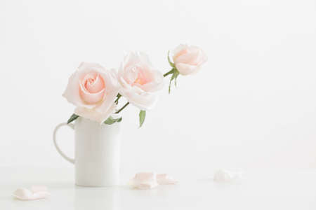 pink roses in white cup on white wooden table Standard-Bild