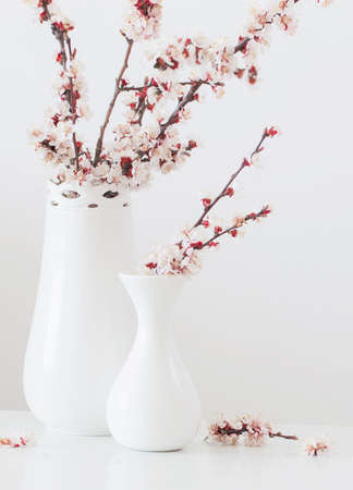 cherry flowers in vase with pink candles on white background