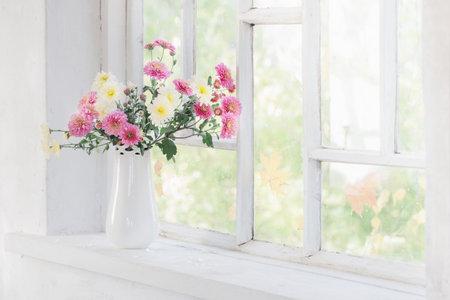 chrysanthemums in vase on windowsill in autumn Zdjęcie Seryjne