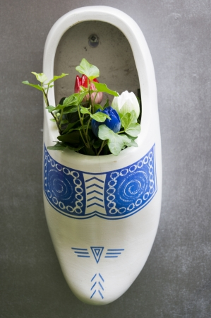 klompen: White and blue clog with flowers