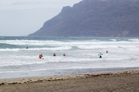 grand strand: Surfing on Lanzarote Stock Photo