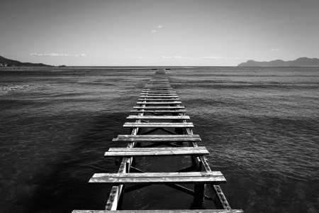 Black and white jetty Mallorca photo