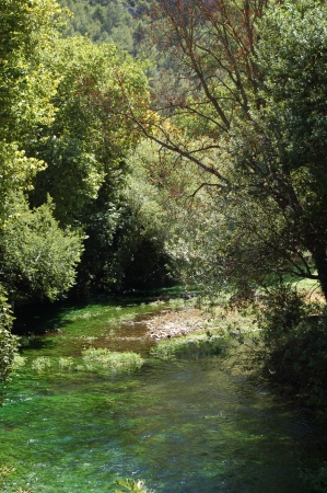 fontaine: River in Fontaine de Vaucluse,France Stock Photo