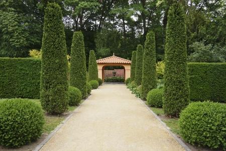 pavillion: Path in Italian formal garden leading to a pavillion