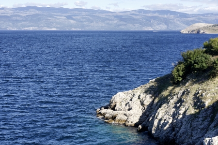 View on the landscape and sea near the island Krk photo