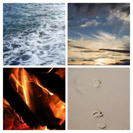 cuatro elementos: Collage de los cuatro elementos
