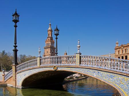 espana: Decorated bridge at Plaza De Espana, Seville