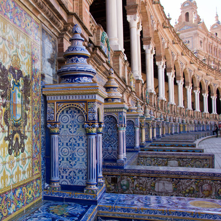 palacio: Detail of a balcony decorated with azulejos at Palacio Espanol on Plaza De Espana, Seville.