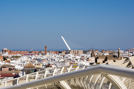 metropol parasol: View on the Alamillo bridge from Metropol Parasol in Seville