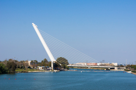 the world expo: The modern suspension bridge over the River Guadalquivir was completed in 1992 in time for the World Expo, Seville