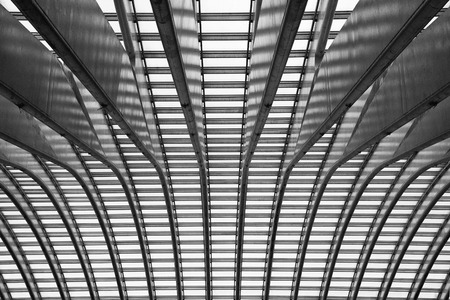 liege: Abstract view on the ceiling of the train station of Liege in black and white
