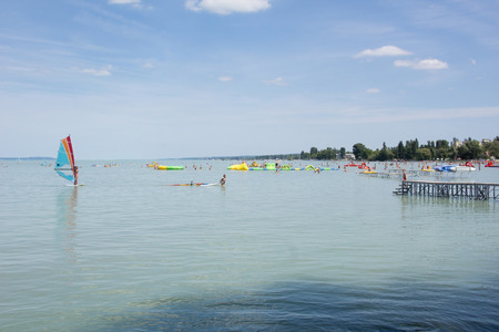 balaton: Recreation on Lake Balaton in Hungary Stock Photo