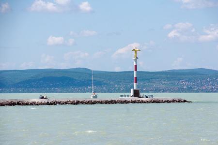 balaton: Lighthouse at Lake Balaton in Hungary Stock Photo
