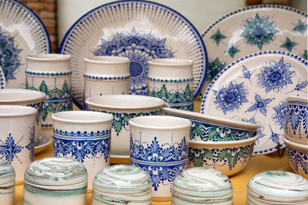 glazes: Hand painted blue and white Hungarian pottery on a market