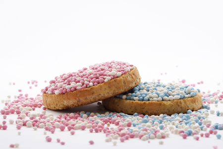 Traditional Dutch treat at the birth of a baby: beschuit met muisjes