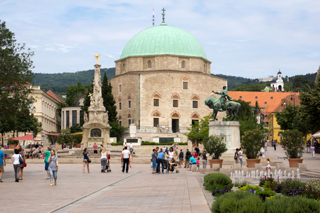 pecs: PECS, HUNGARY 27 JUNE 2015  Szechenyi  Square in Pecs with mosque, in Southern Hungary. Pecs is the second largest city in Hungary and was chosen European Capital of Culture in 2010 Photo taken on: 27 June 2015