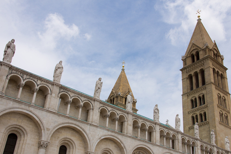 pecs: Detail of the 19th century cathedral in Pecs, southern part of Hungary. Stock Photo