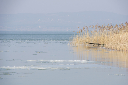balaton: Lake Balaton in Hungary in th winter time with snow and ice and a blue sky