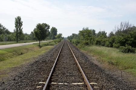 rail track: Endless single rail track in Hungary