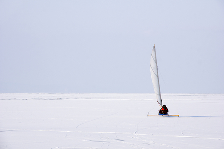 very cold: Ice sailing on Lake Balaton in Hungary during a very cold winter. Stock Photo