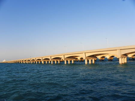 Long dock of big arches in the port of Progreso, Yucatan, Mexico Stock Photo