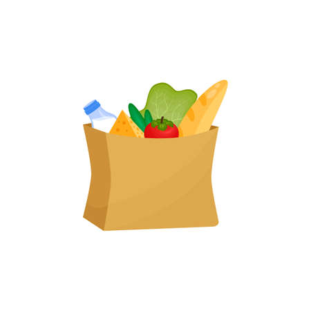 bag of groceries. Paper bag with a loaf of milk lettuce tomatoes and cucumbers. The farm s products. Vector illustration on a white background. concept flat style icon